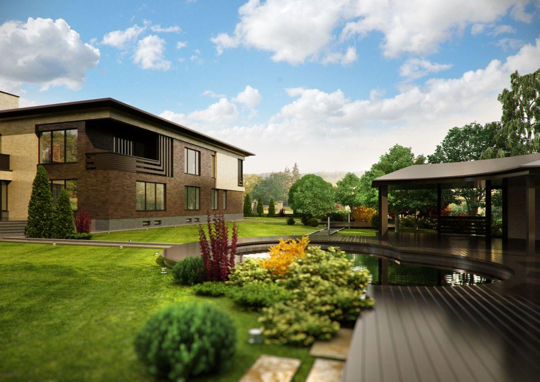 Ландшафтный дизайн загородного дома в