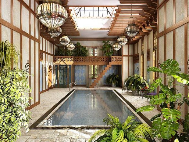 Дизайн интерьера бассейнов в загородных домах