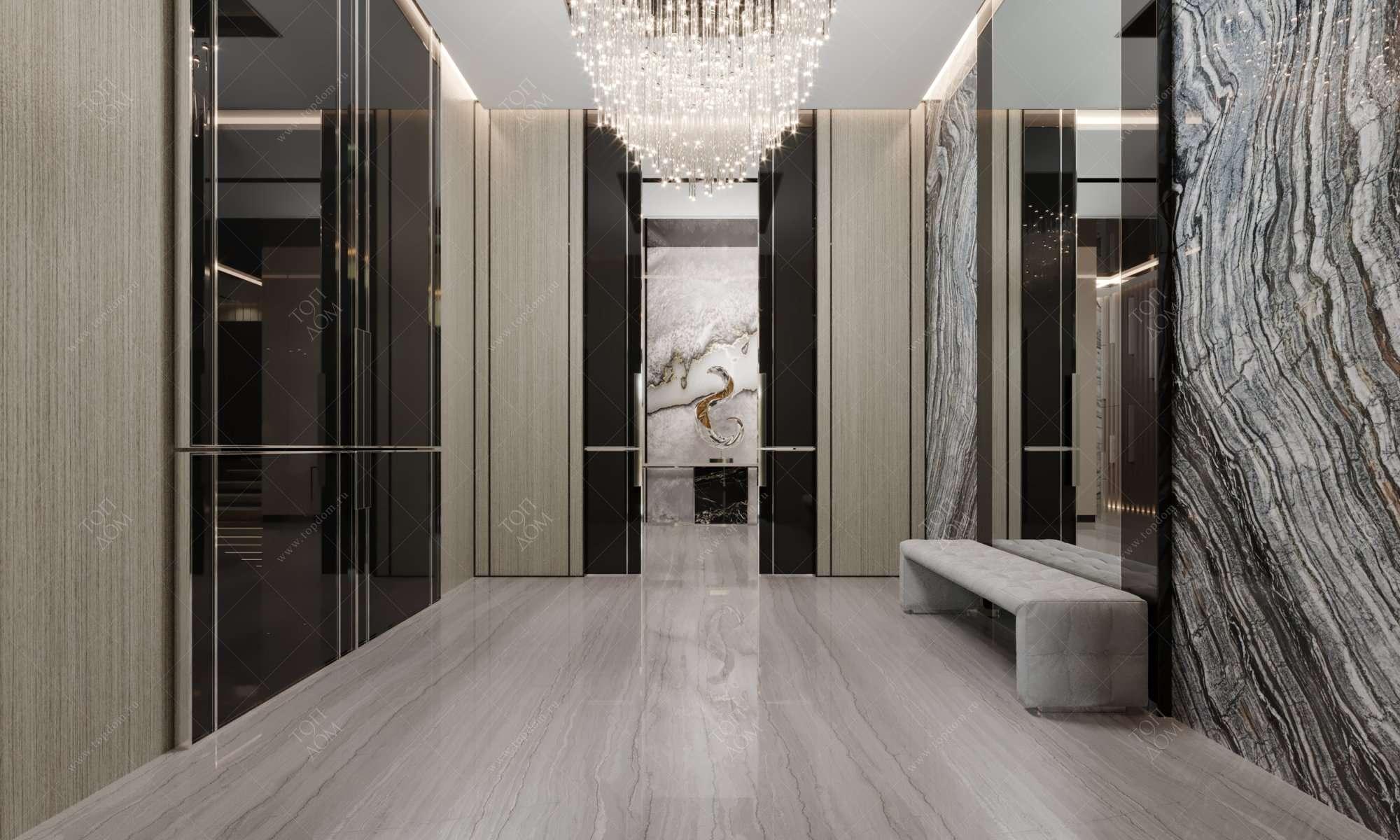 Холл с гостиной в доме дизайн