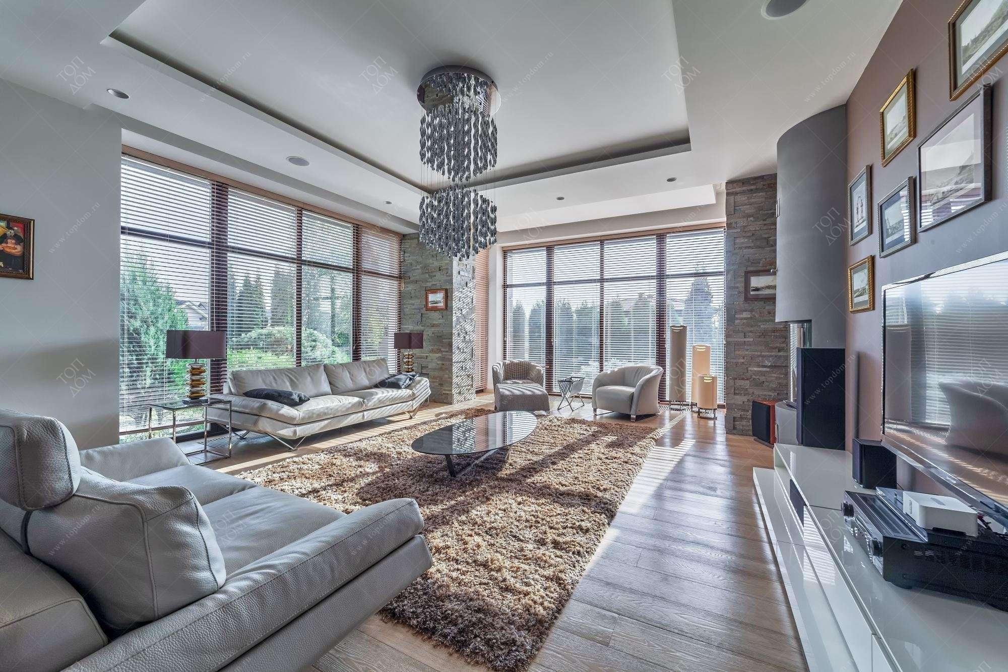 Проект дизайна интерьера гостиной в