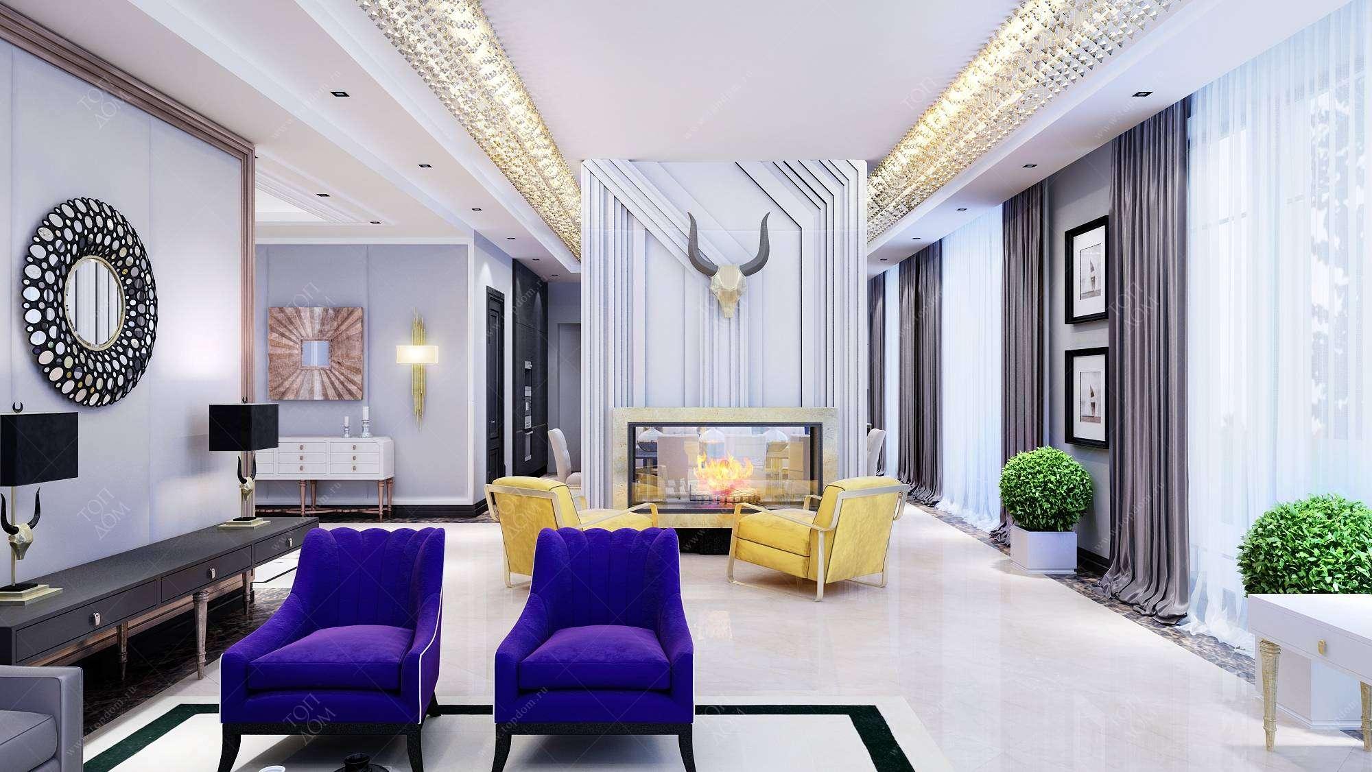 Яркая гостиная дизайн