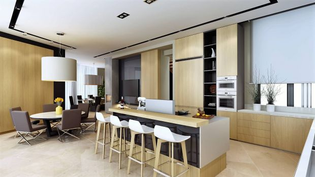 Расположение кухни, объединенной с гостиной