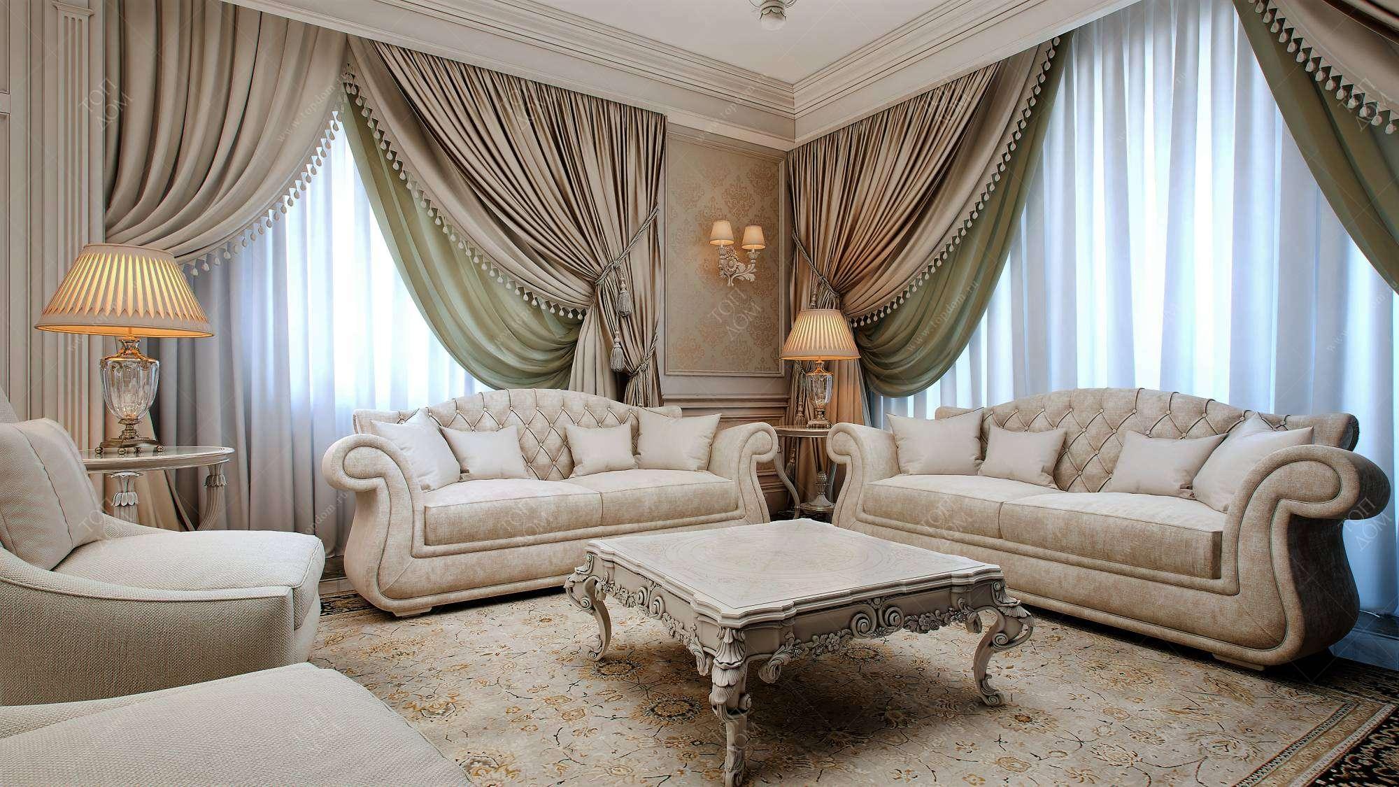 рада видеть шторы для гостиной в классическом стиле фото цього