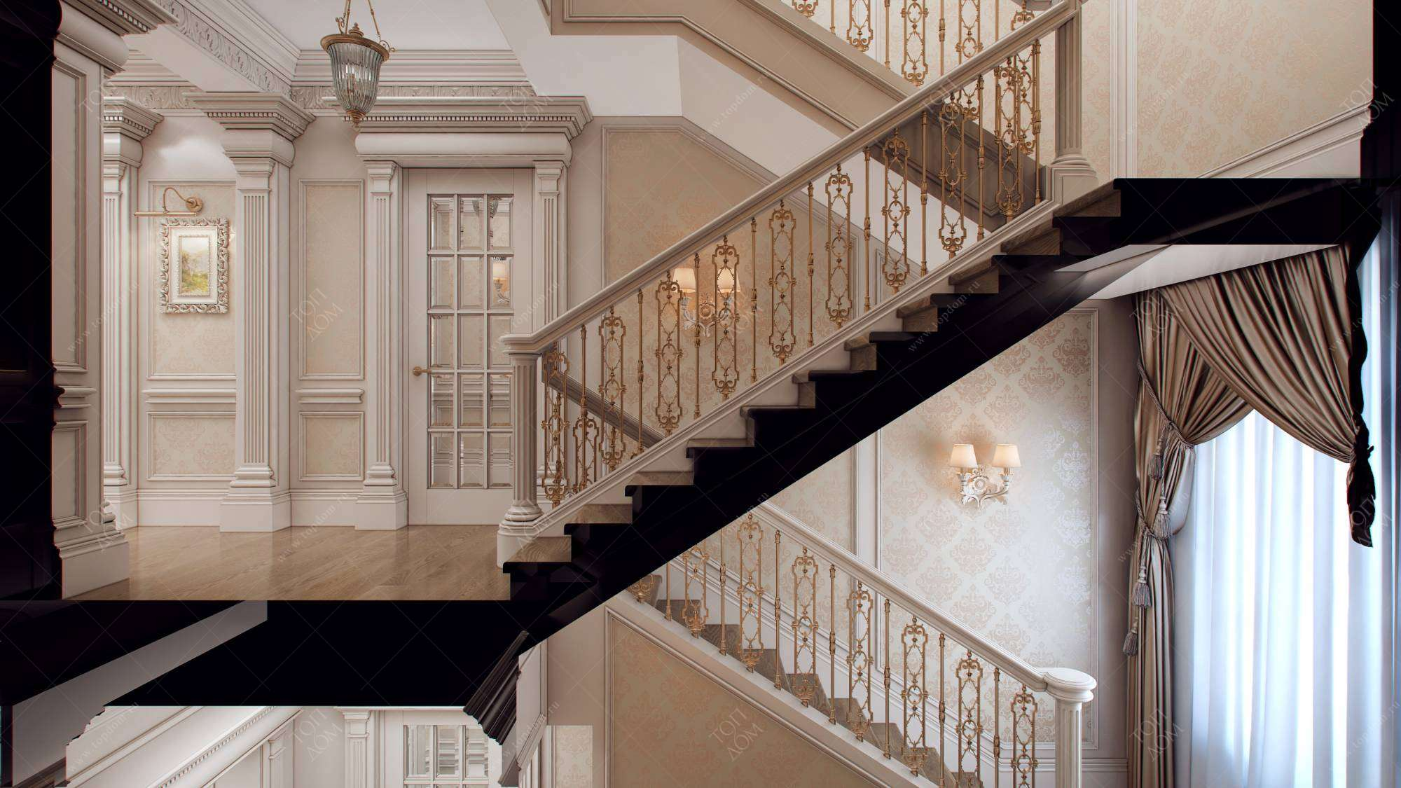 Лестничный пролёт в частном доме дизайн фото