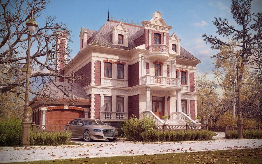 Дизайны фасадов из кирпича