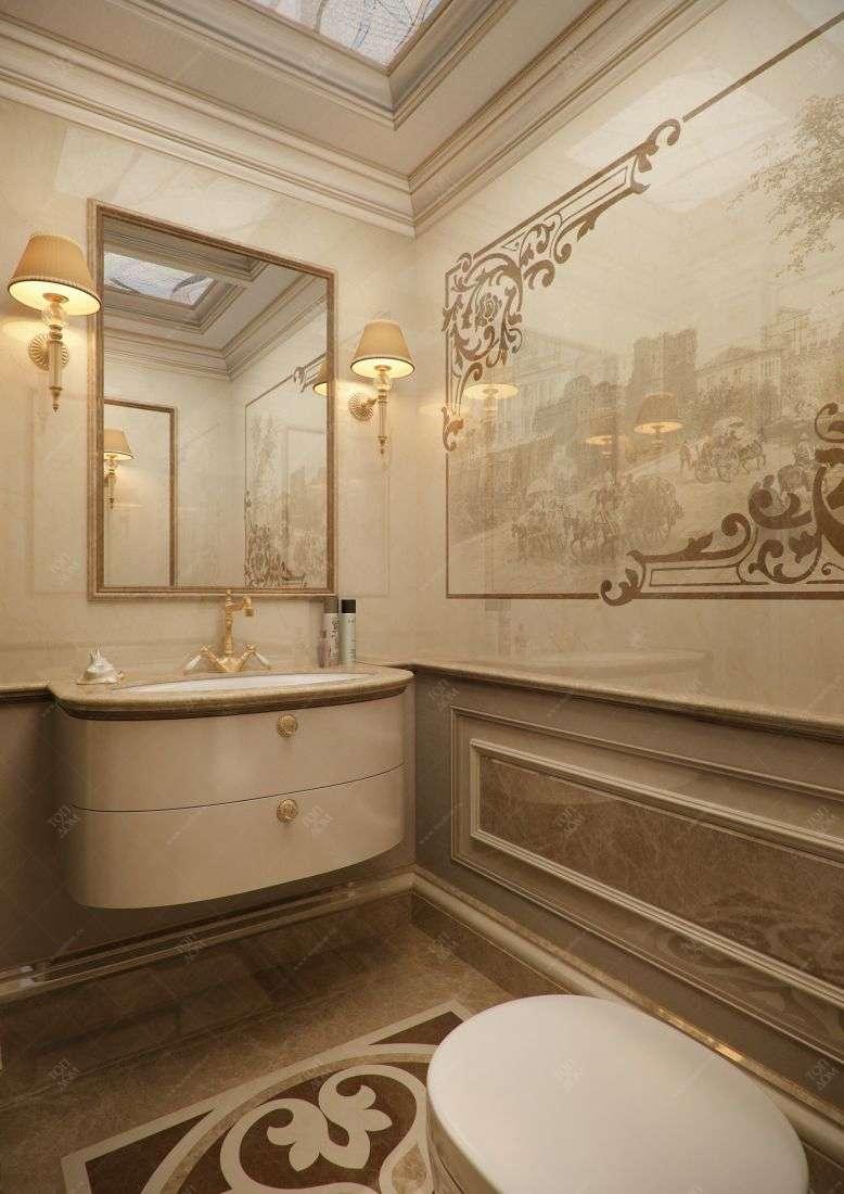 Дизайн туалета в классическом стиле в