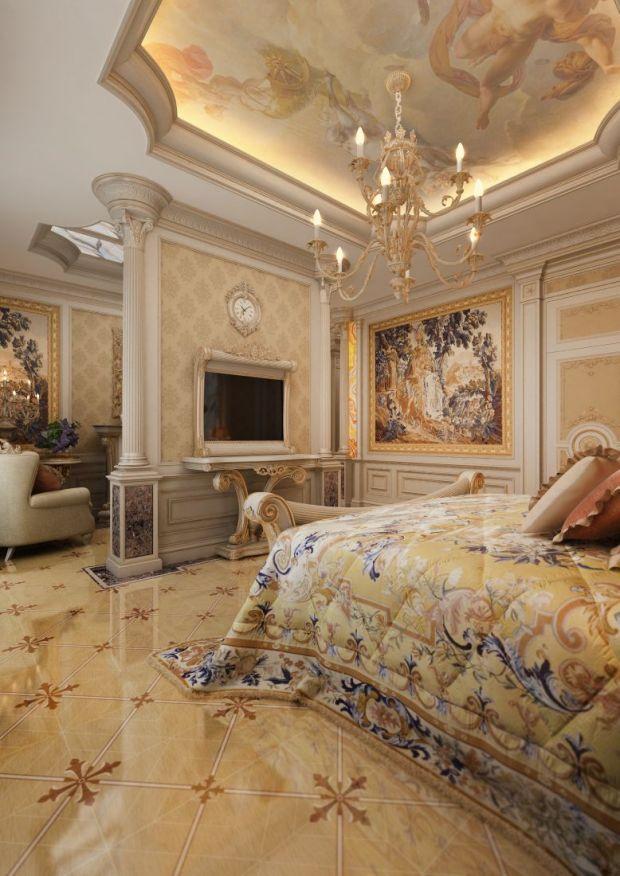 Интерьер спальни в золотом цвете