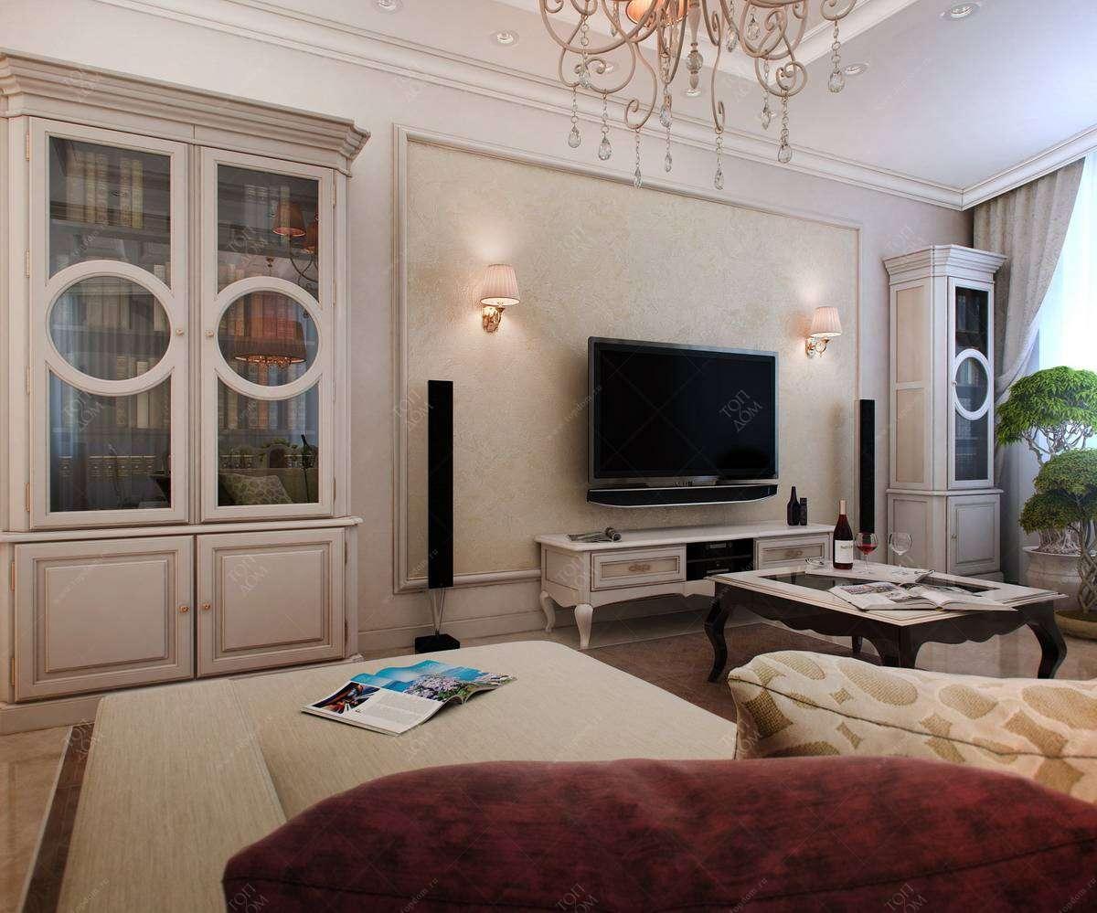 Интерьера гостиной в 3 х комнатной