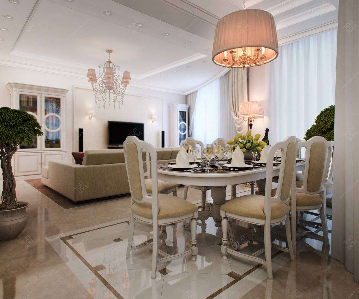 Интерьера столовой в 3 х комнатной