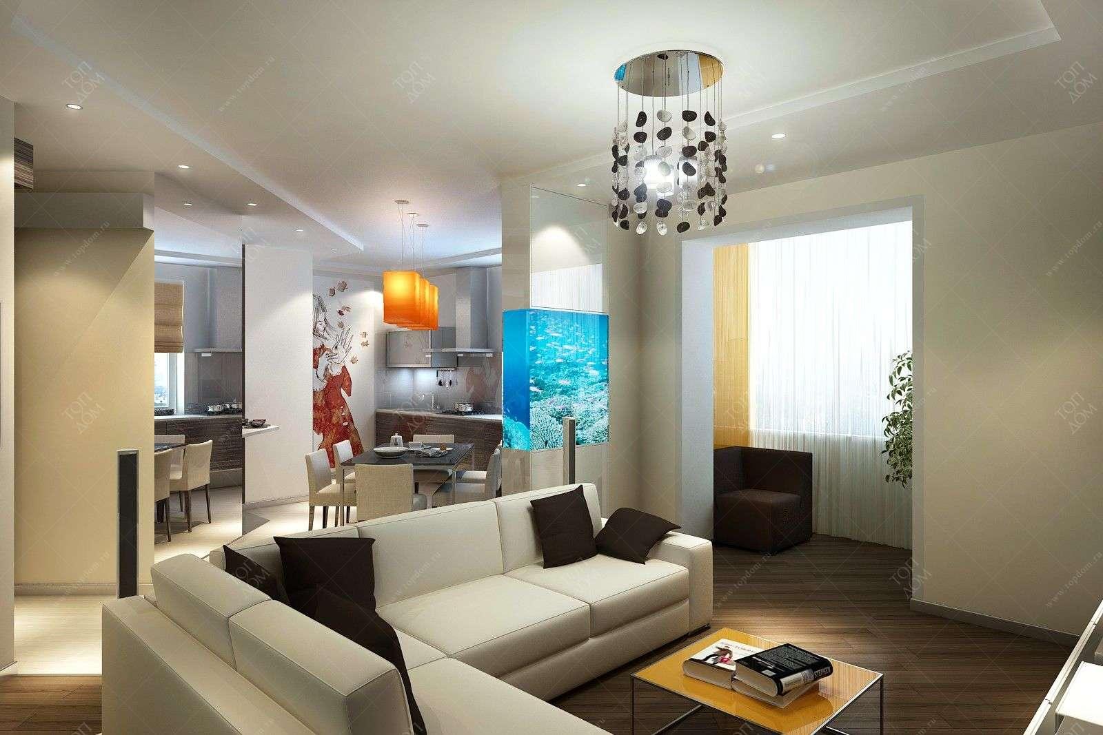 Дизайн интерьера квартиры студии.