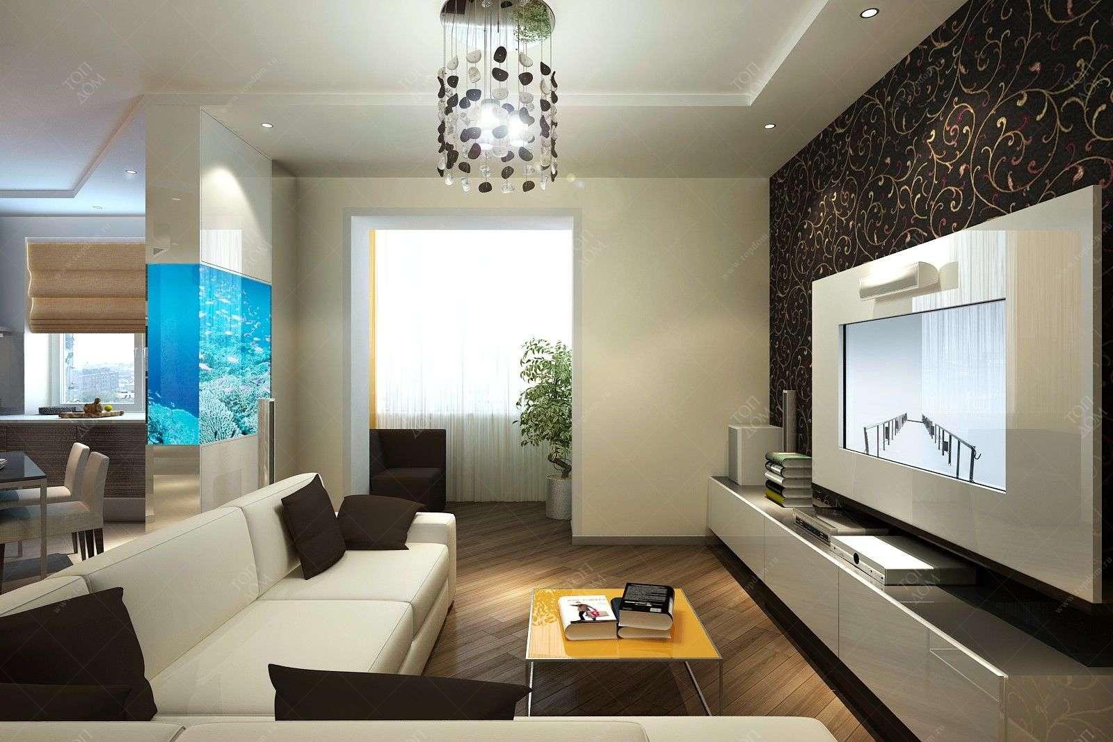 Оформление интерьера гостиной-студии с аквариумом.