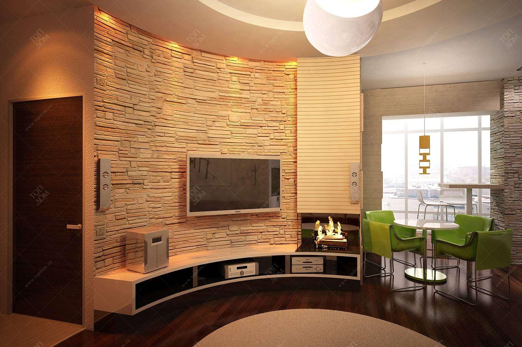 Дизайн интерьера гостиной вид на