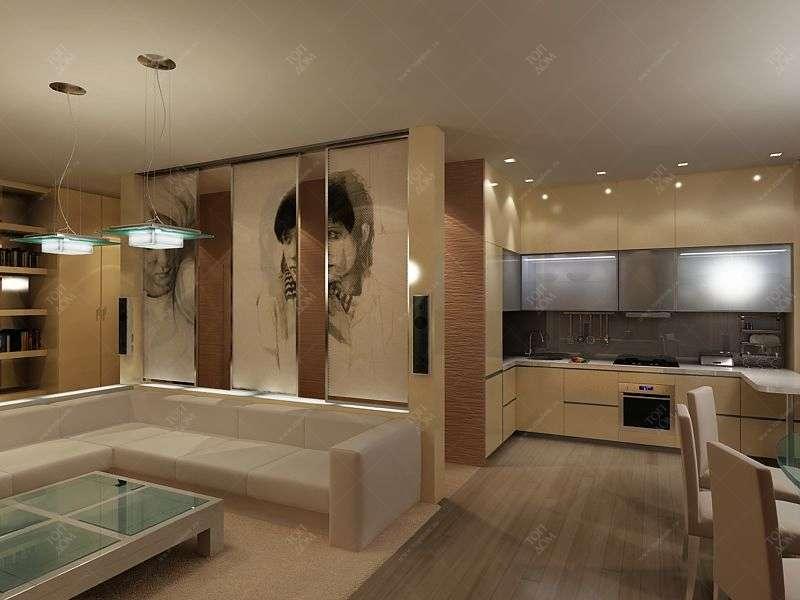 дизайн интерьера комнаты кухни фото.