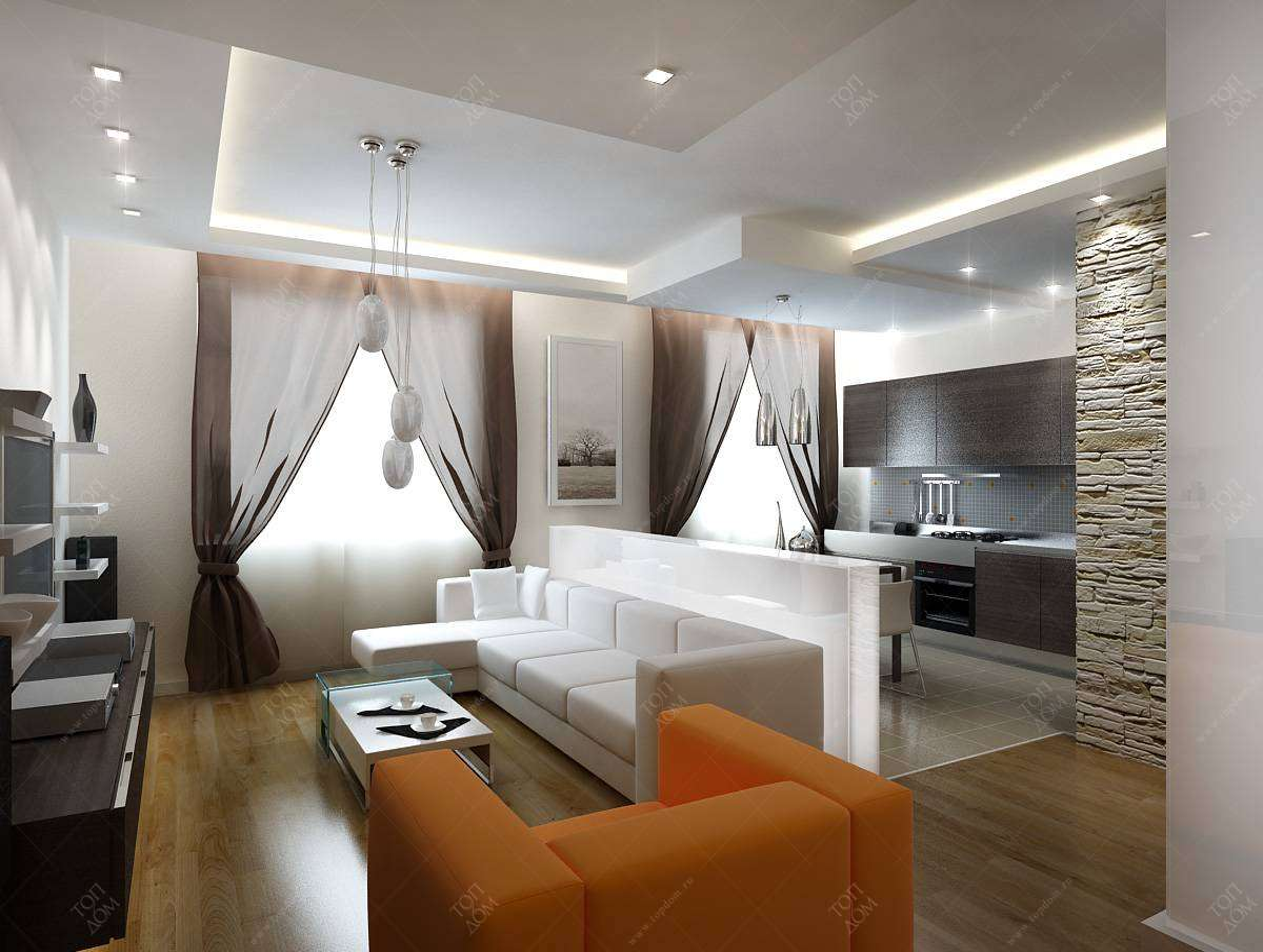 Дизайн проект интерьера гостиной в