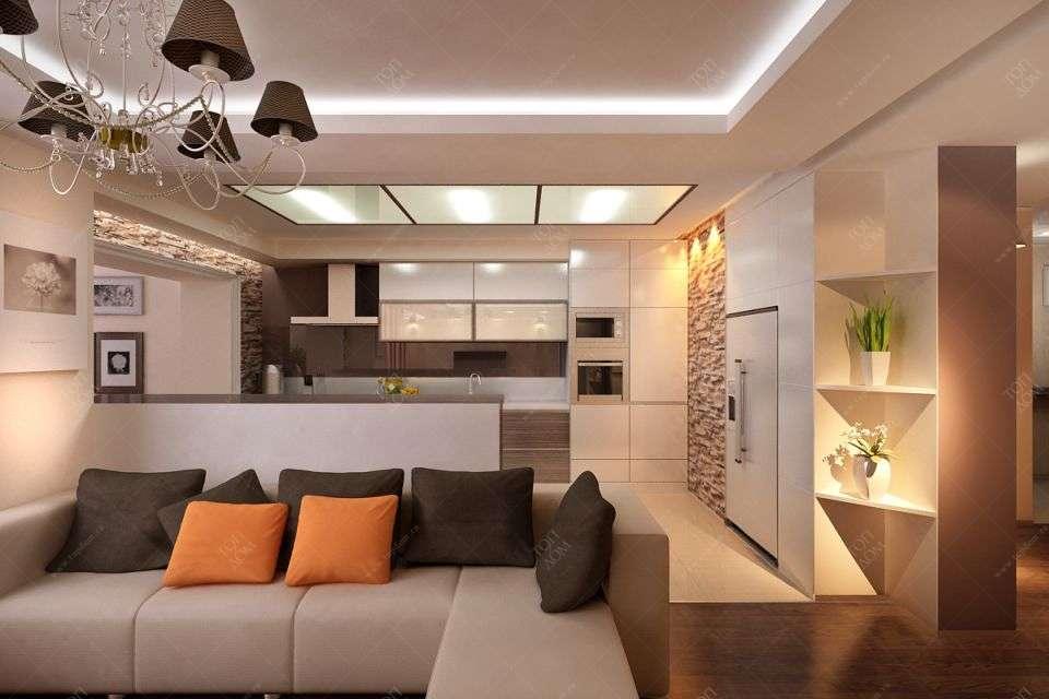 Интерьер кухни белого коричневого цвета фото