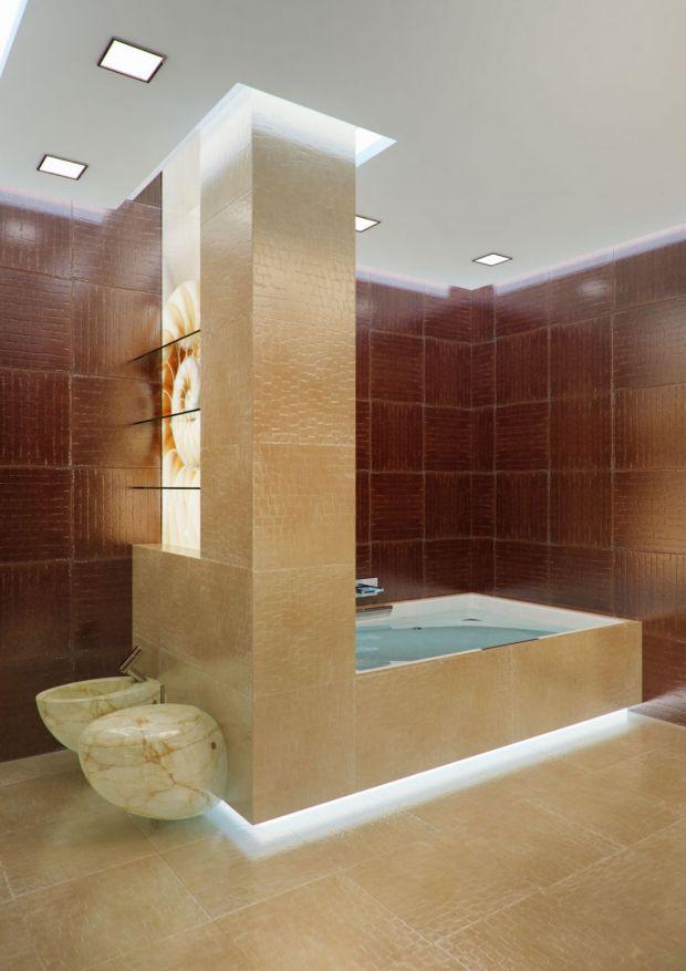 Зонирование интерьера ванной с помощью перегородки и освещения