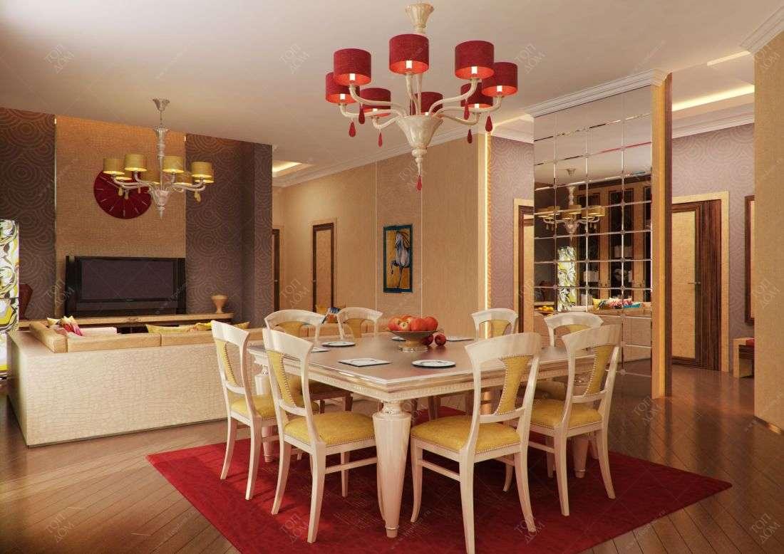 Дизайн столовой и гостиной в
