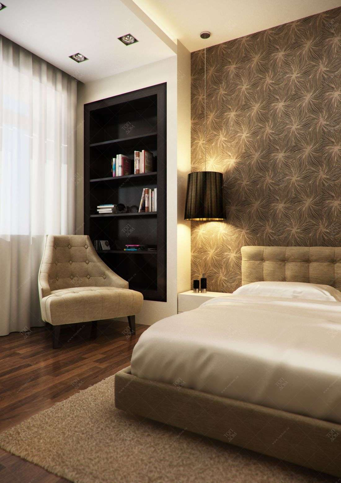 Проект интерьера спальни в 3 х