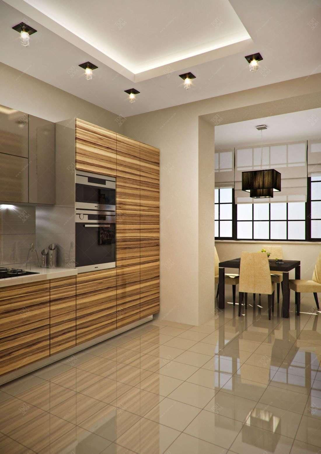 Проект интерьера кухни в 3 х комнтаной