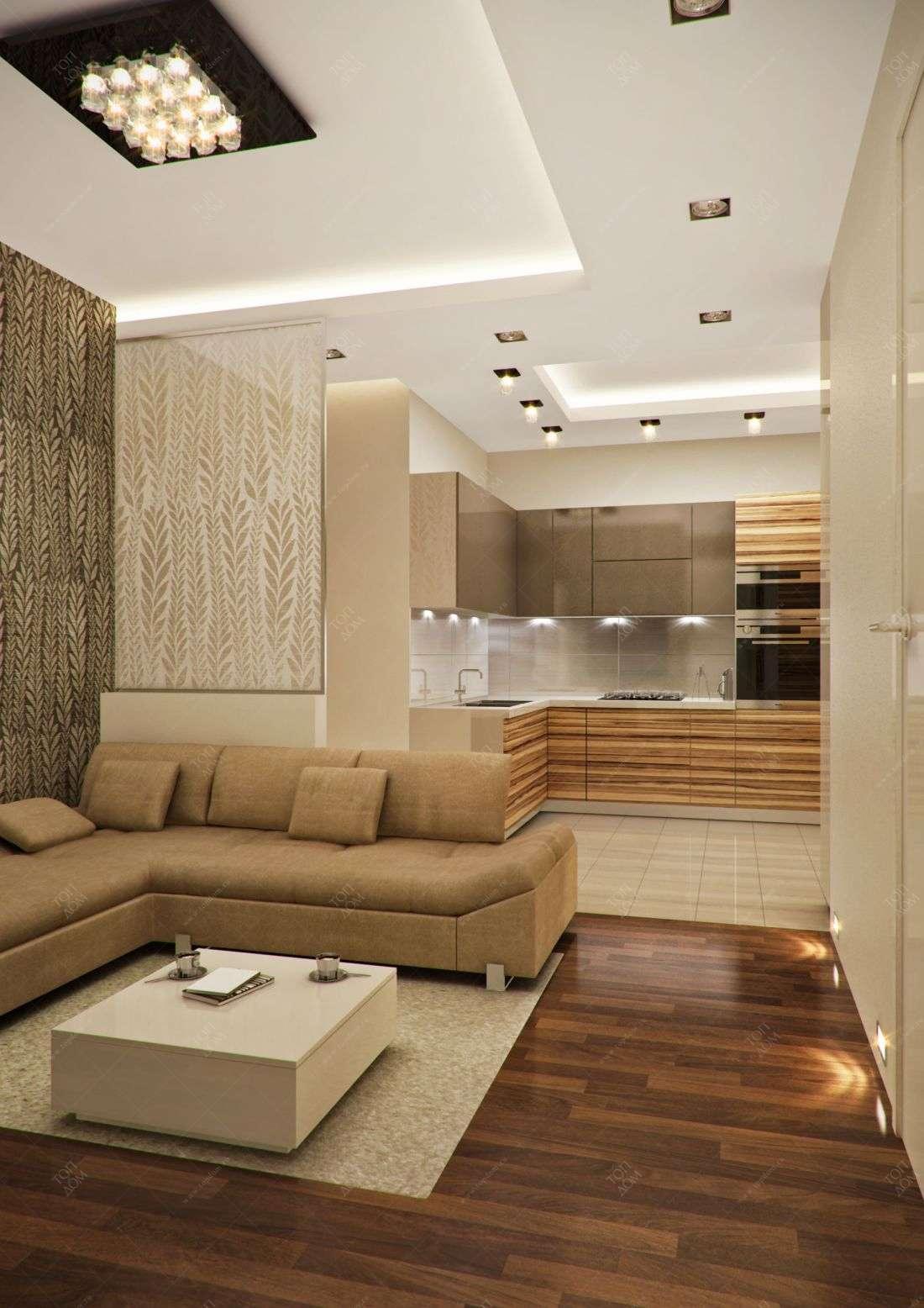 Проект интерьера гостиной и кухни в 3 х