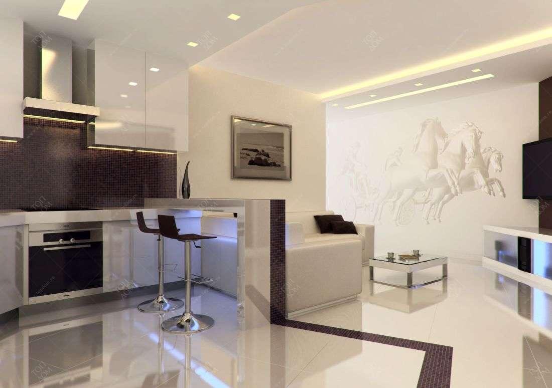 совмещенная кухня и гостиная фото