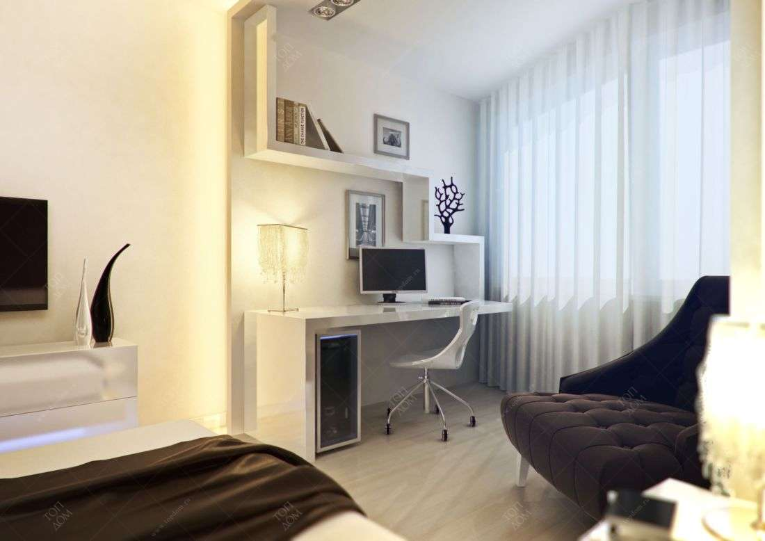 Дизайн спальни с компьютерным столом.фото