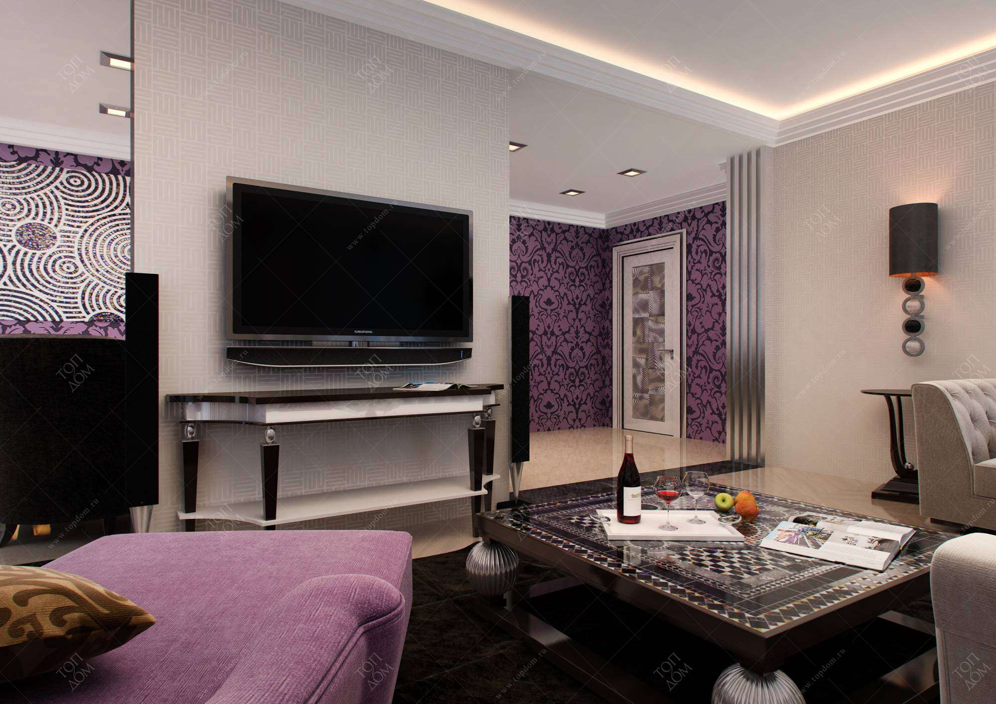 Фото интерьера современной гостиной в