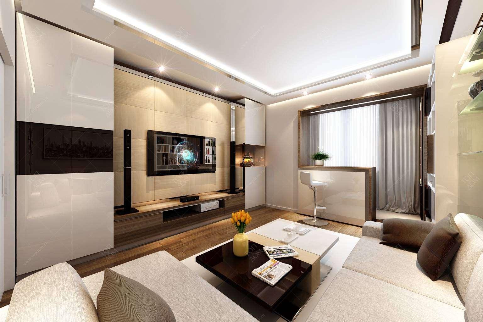 Дизайн интерьера гостиной в хрущёвке, идеи, в том числе вари.