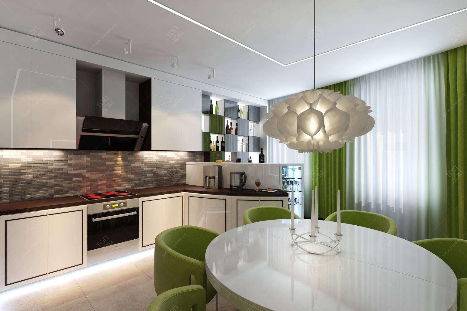 Проект интерьера кухни в 3 х комнатной