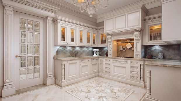 Компактная кухня с раковиной у окна