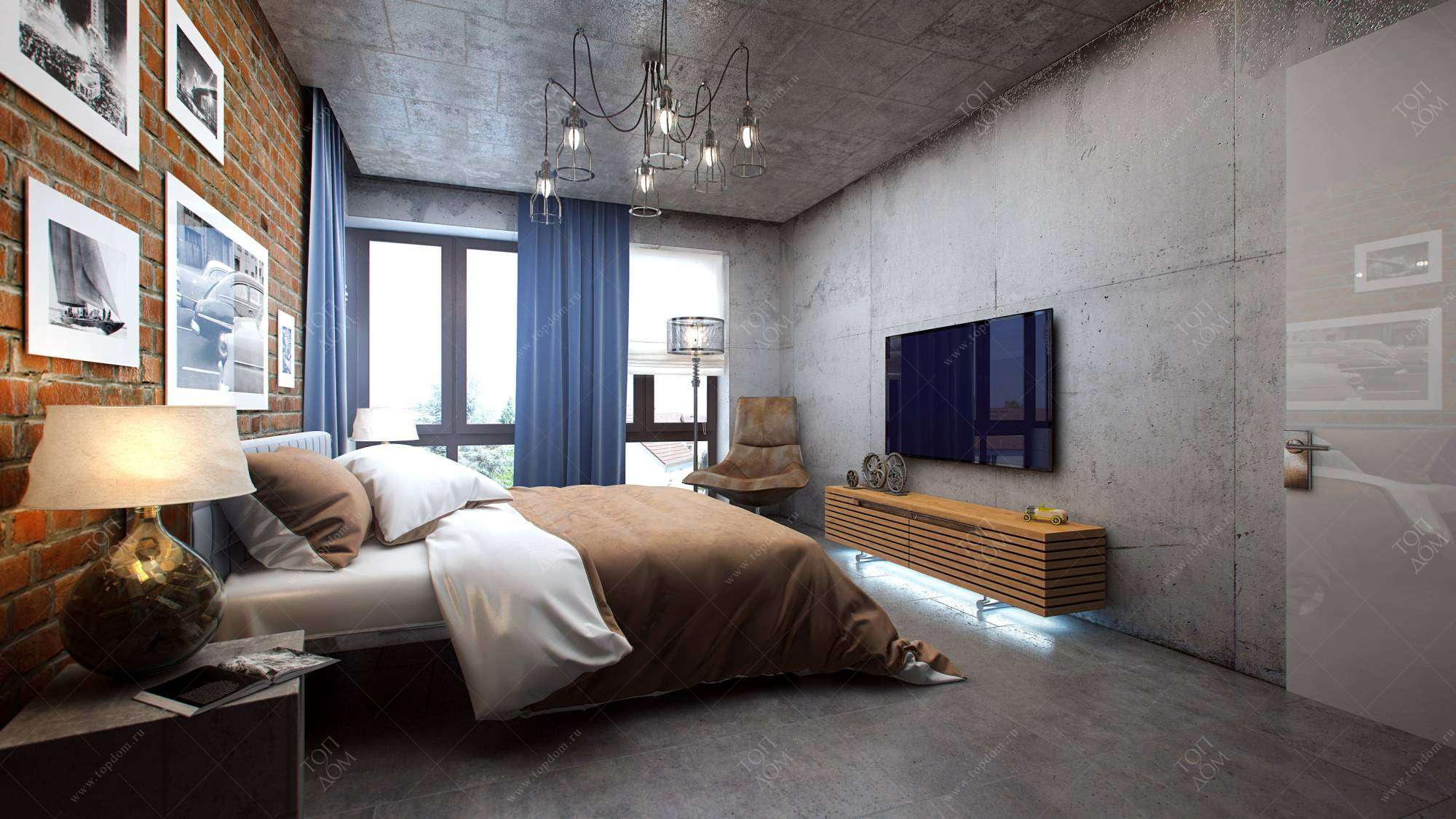 Дизайн спальни в стиле лофт – фото: https://www.topdom.ru/gallery/flats/81/8.htm