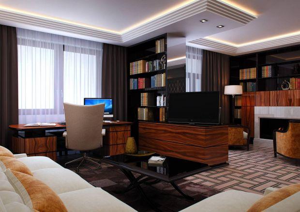 Дизайн кабинета в квартире с камином