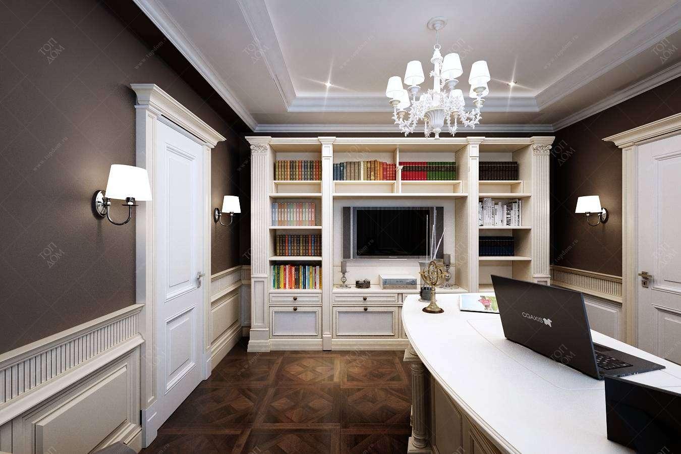 фото кабинет с белой мебелью приложить кончик