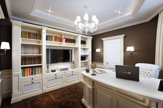Классический рабочий кабинет в квартире