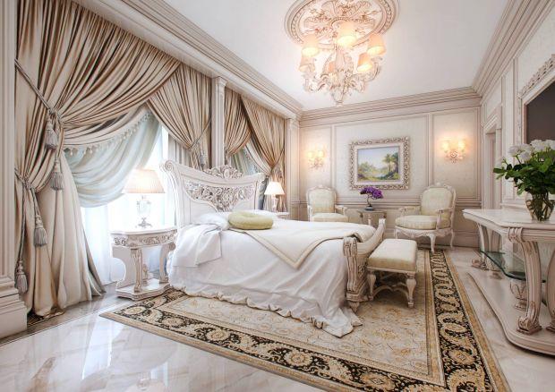 Дизайн классической спальни с плотными шторами