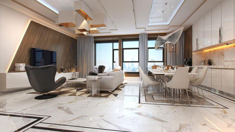 Модный и дорогой интерьер квартиры