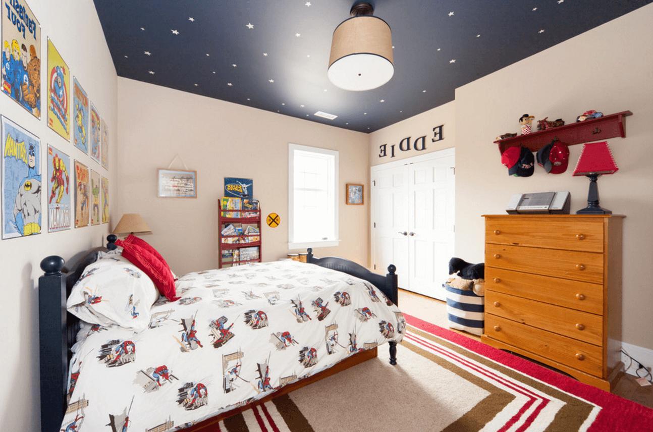 Как сделать потолок в детской комнате для мальчика фото