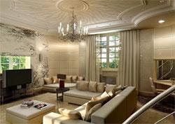 Очень красивый дизайн гостиной в классическом стиле.  Мягкий кремовый цвет стен и потолка, красивые орнаменты на