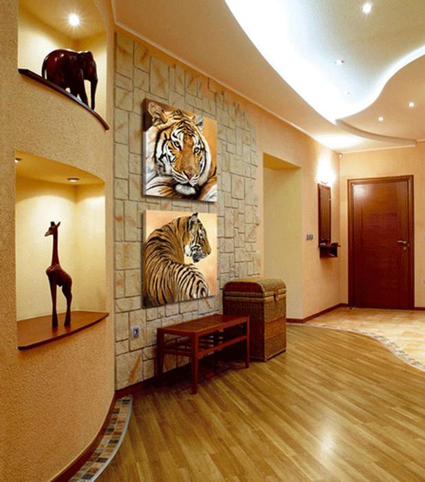 Отделка стен камнем в африканском стиле интерьера