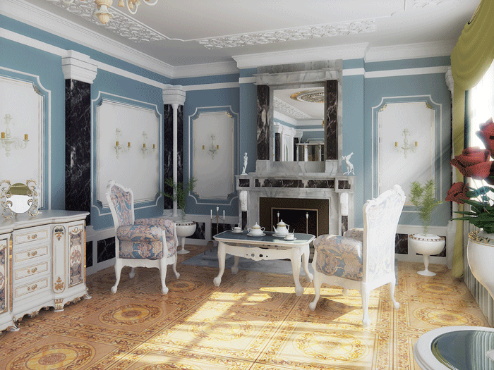 Мраморная облицовка гостиной в стиле барокко