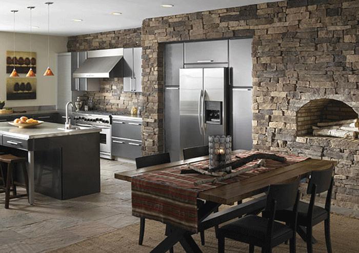 Каменная облицовка на кухне в стиле хай-тек