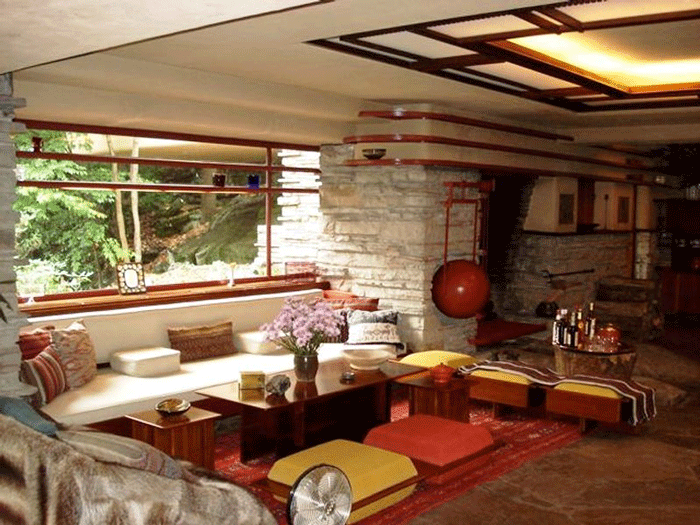 Каменная облицовка в интерьере дома Френка Райта Дом над водопадом