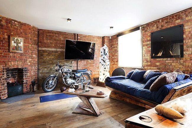 Брутальная гостиная со старинной кирпичной кладкой