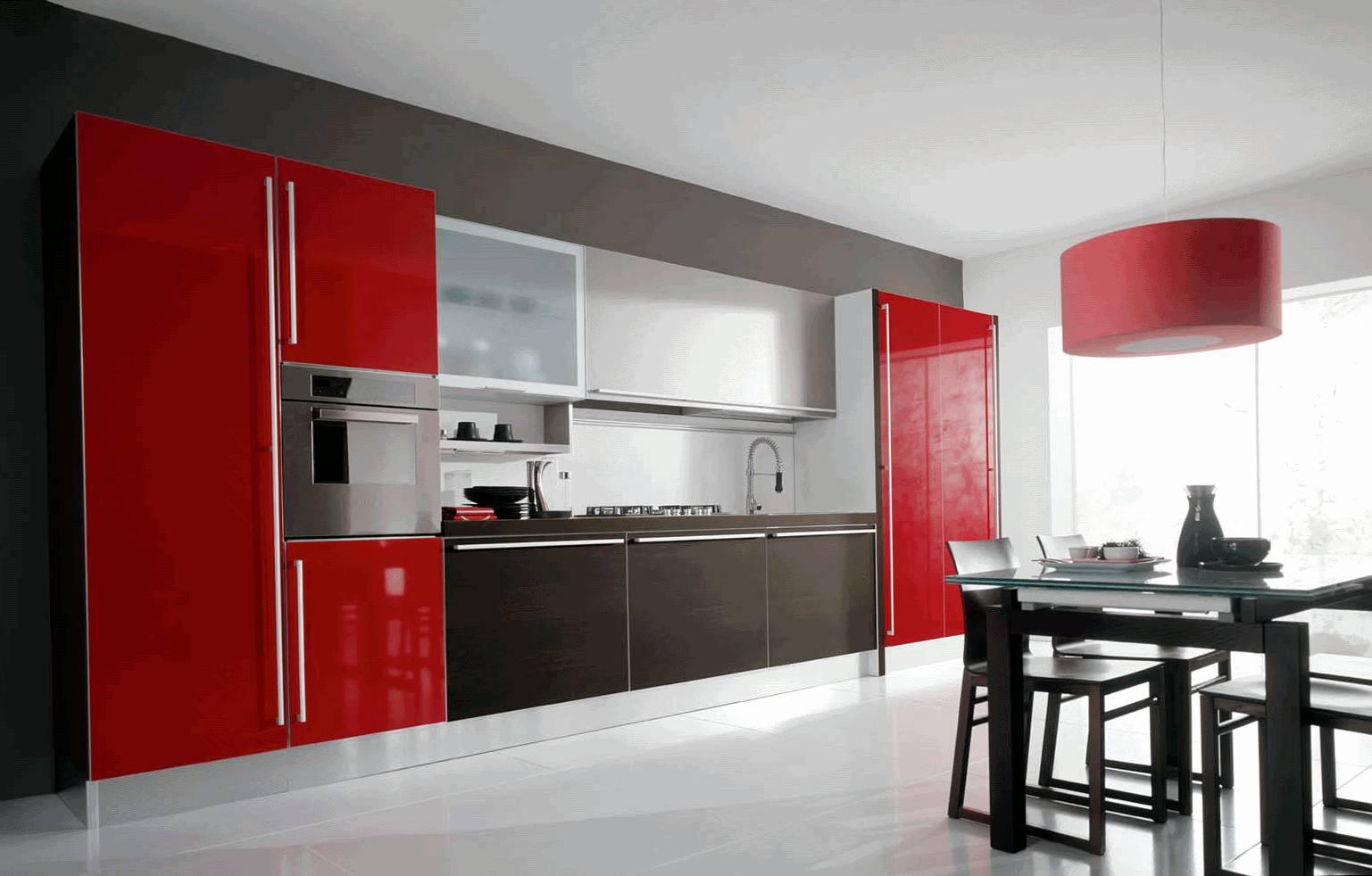 Прямые кухни идеально подходят для больших помещений