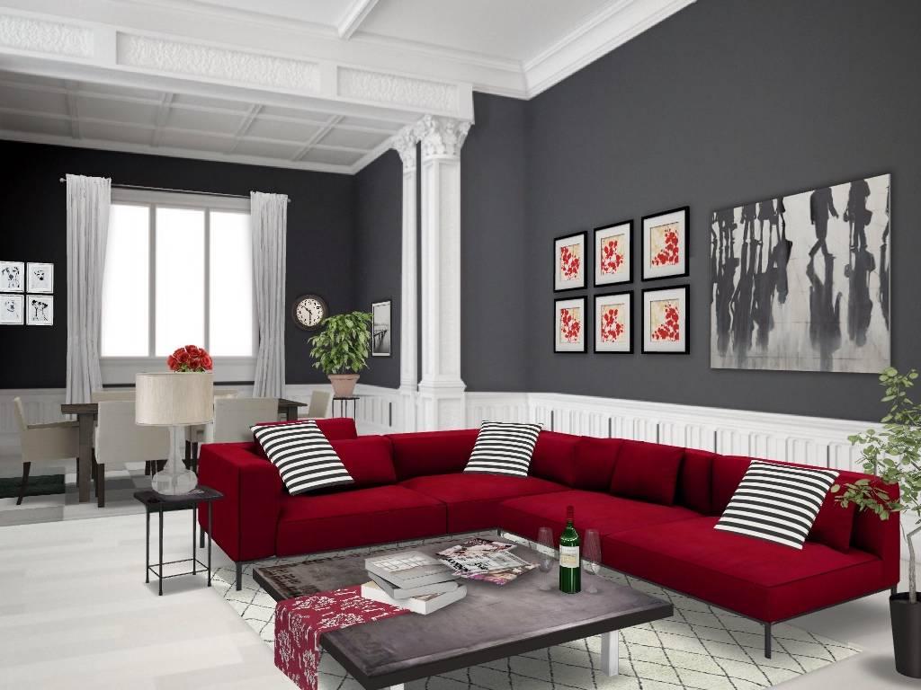 гостиная в серо красных тонах фото одно распространенное