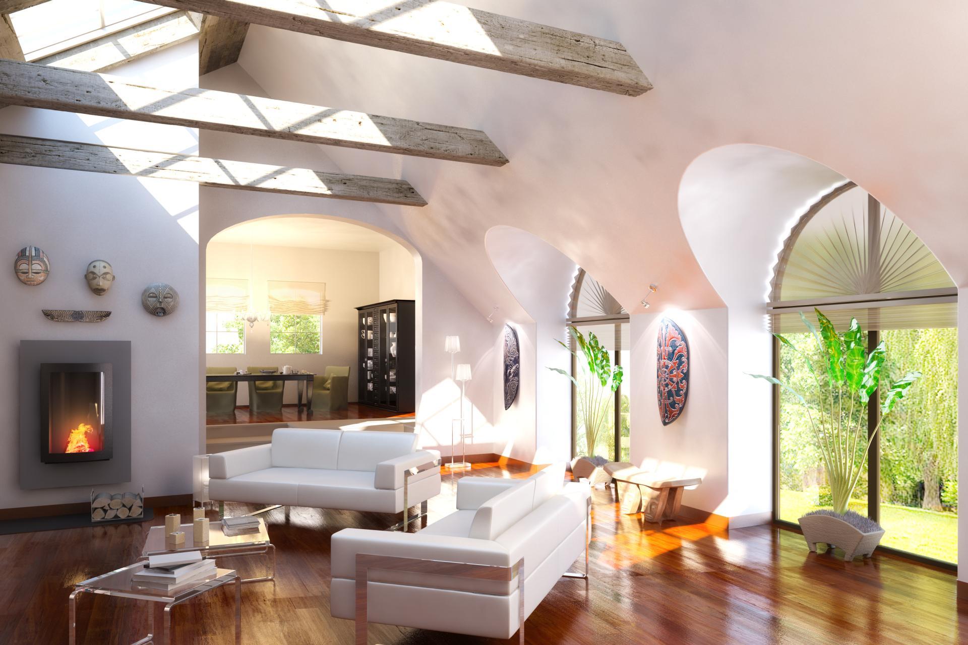 Фото дизайн мансардыгалерея интерьера в частном доме