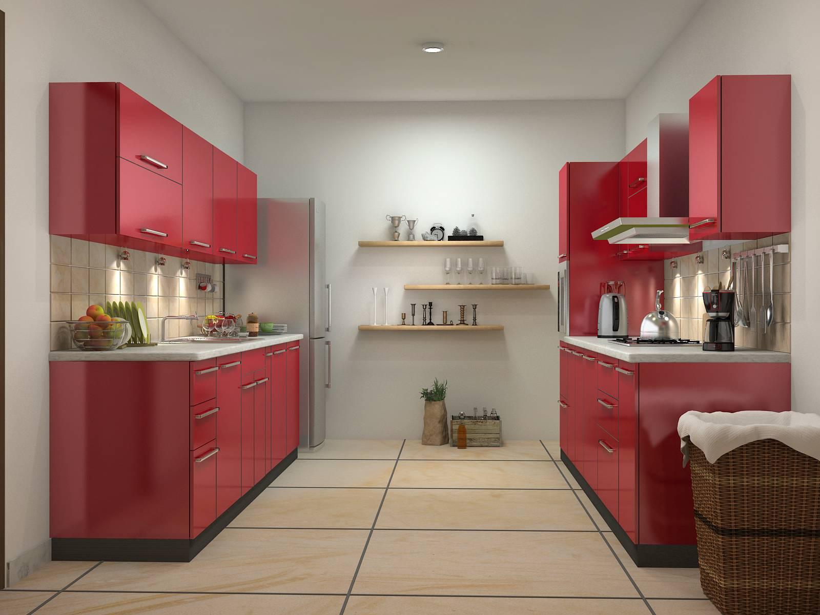 Дизайн двухлинейной кухни