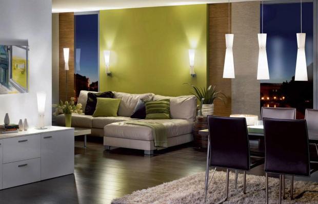 Обои в интерьере гостиной ~ 90 фото обоев разного цвета и их комбинирование